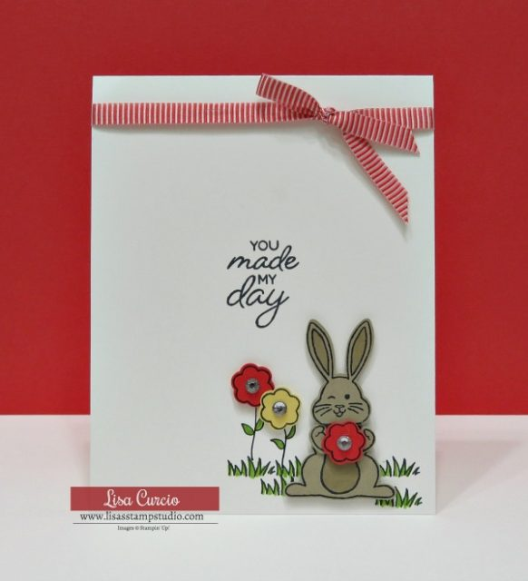 Bunny and flowers card using Best Bunny Bundle from Stampin' Up!.