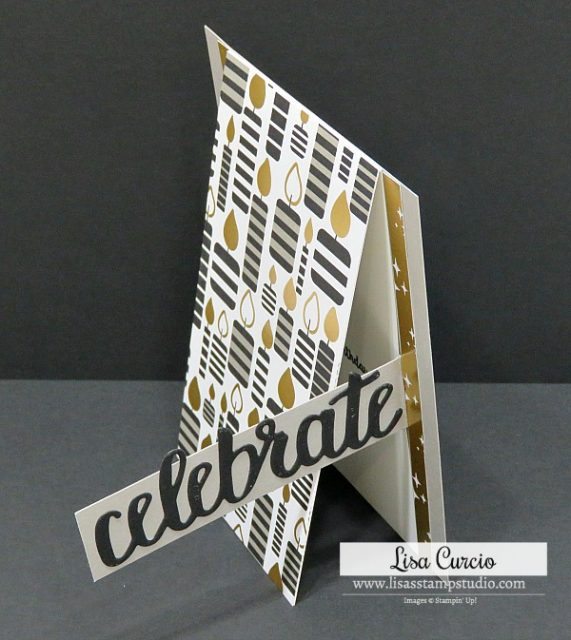 Video tutorial for an easy fun fold birthday card. Stampin' Up! Wonderful Moments. Upright view.