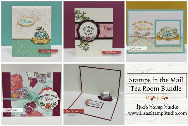 August's free Stamps in the Mail card kit - Time for Tea. Lisa's Stamp Studio. Stampin' Up!