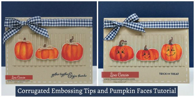 Video tutorial! One card, two ways. Tips on corrugated embossing and how to draw pumpkin faces. Stampin' Up!