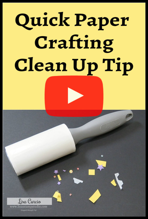 Quick tip video shows you how efficiently this sticky roller cleans up small scraps of cardstock, glitter, embossing powder and sequins quickly and easily. Affordable and practical! #lisacurcio #lisasstampstudio #papercraft #scrapbook