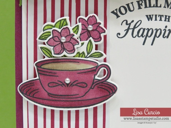 Video tutorial! Easy tea cup card using Time for Tea by Stampin' Up! Close up view with Stampin' Blends.