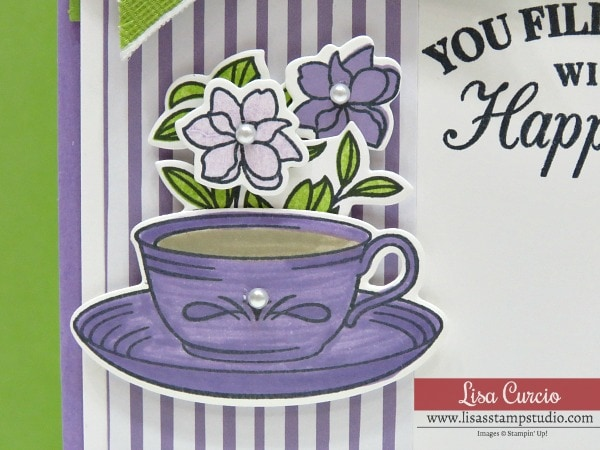 Video tutorial! Easy tea cup card using Time for Tea by Stampin' Up! Close up view using Stampin' Write Markers.