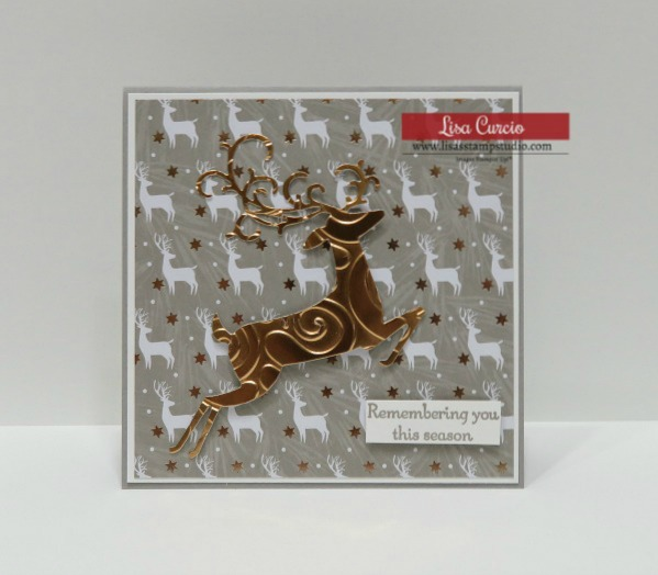 Video tutorial DIY Elegant Christmas Card. Stampin' Up! Dashing Deer front view.