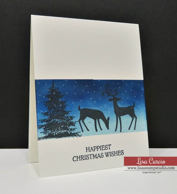 Video tutorial Christmas Card with Masking & Sponging Techniques. Dashing Deer by Stampin' Up! #christmascards #greetingcards #cardmaking #stampinupcards #lisacurcio #lisasstampstudio