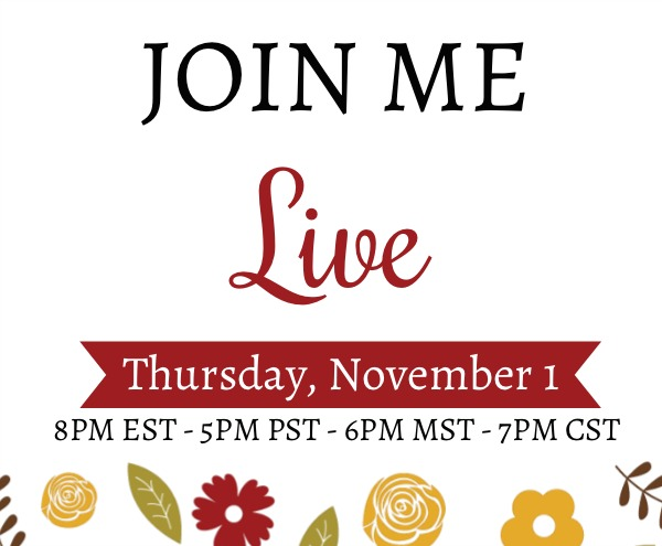 Live on YouTube Thursday, November 1st at 8pm EST with a paper crafting demonstration loaded with tips and inspiration. Lisa's Stamp Studio