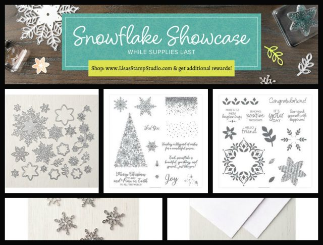 Snowflake Showcase limited edition products Nov 1-30 or while supplies last. Free tutorials with purchase. Lisa's Stamp Studio
