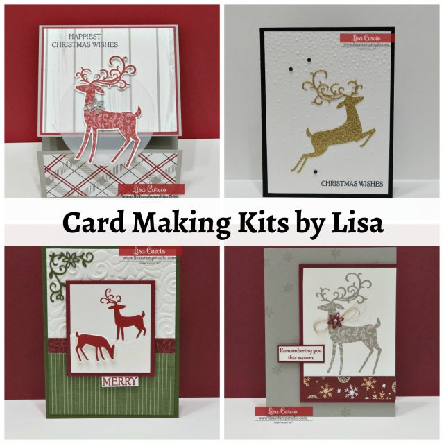 Card making kits by Lisa Curcio. Dashing Deer. Stampin' Up! #christmascards #cardmaking #greetingcards #lisacurcio #lisasstampstudio
