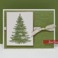 Tying Ribbon and Bow on Christmas Greeting Card