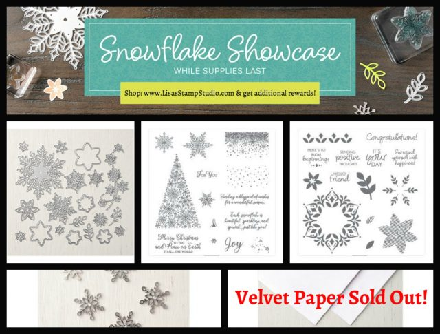 Snowflake Showcase products available until November 30 or while supplies last. Lisa's Stamp Studio.