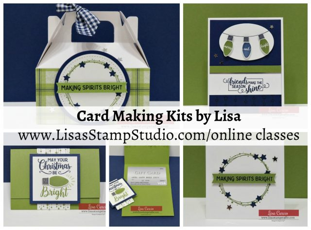 December 2018 Card Making Kit by Lisa - Special Edition includes mini gable boxes, gift card holders, cards and envelopes. Lisa's Stamp Studio. Stampin' Up! Making Christmas Bright
