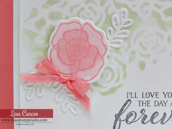 Gorgeous Wedding Card & Valentine Day Card uses Forever Lovely by Stampin' Up! Close up of floral image. Lisa's Stamp Studio