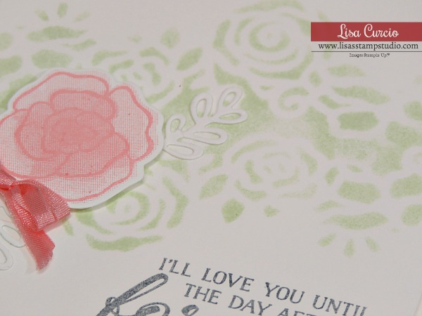 Gorgeous Wedding Card & Valentine Day Card uses Forever Lovely by Stampin' Up! Close up of stencil background. Lisa's Stamp Studio