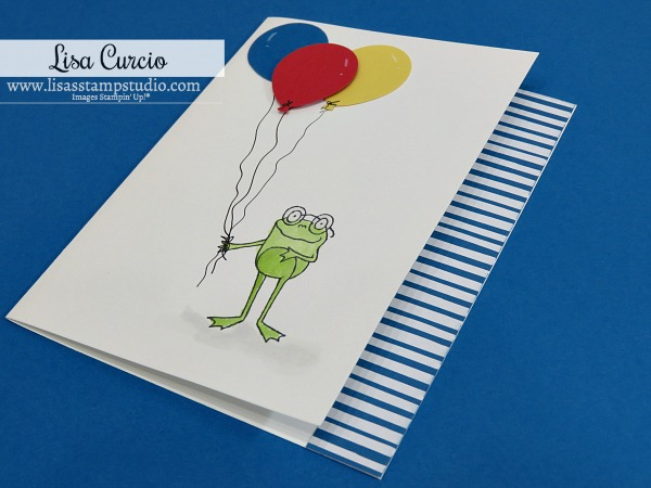 Handmade-Happy-Birthday-Card-with-Frog-Holding-Colorful-Balloons-by-Lisa-Curcio