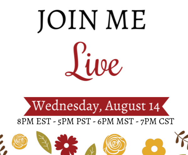 Join me Live on Wednesday, August 14 at 8PM EST - 5PM PST - 6PM MST - 7PM CST for a paper crafting demonstration, tips and interactive fun. This is a free event! #lisasstampstudio #stampinup #papercrafts #handmadecards #handmade #crafts #diy #rubberstamps