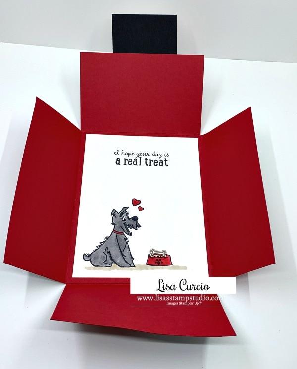 quarter-fold-card-tutorial-Lisa-Curcio-with-dog-and-treats