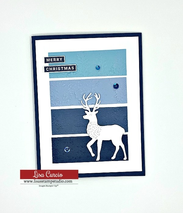 This is one of 5 DIY Christmas cards with a simple layout and a die cut deer