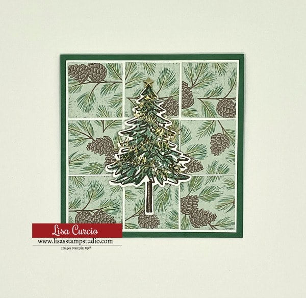Card 3 of the 5 DIY Christmas cards that features a simple grid layout with Christmas tree as the focal point of the card