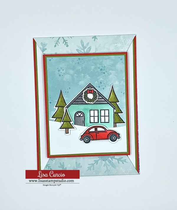 The Coming Home bundle by Stampin' Up! is perfect for this pointed slide out card; a great fun fold card.