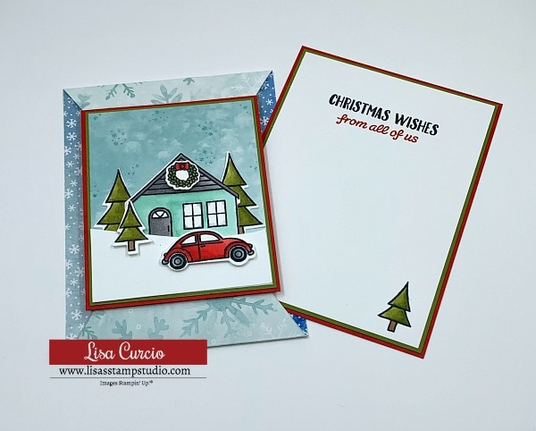 The pointed slide out card is easy to include a stamped greeting on the inside of the card.