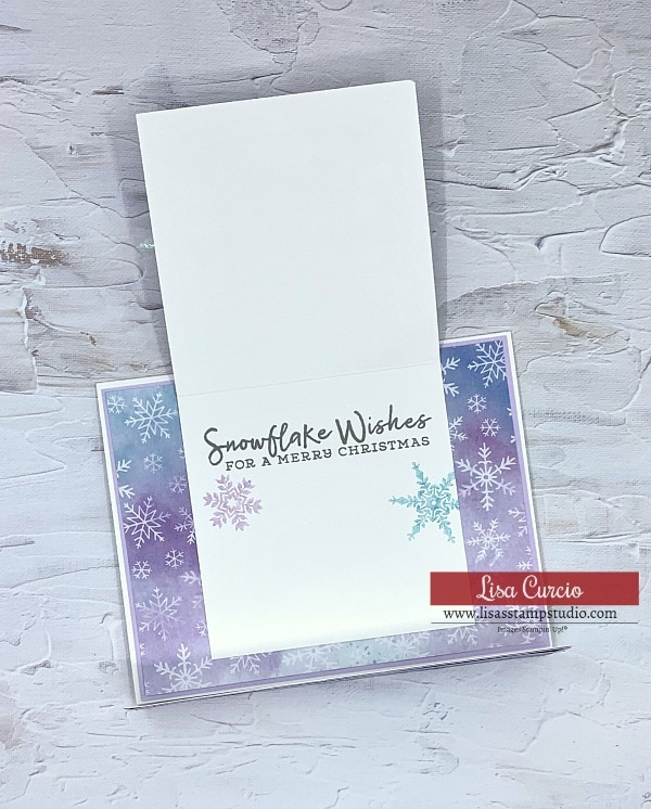 "Stamp the inside greeting of your card, ""Snowflake Wishes for a Merry Christmas"""
