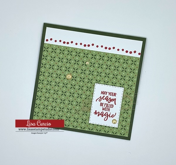 Christmas card with fun designer paper and stamped greeting