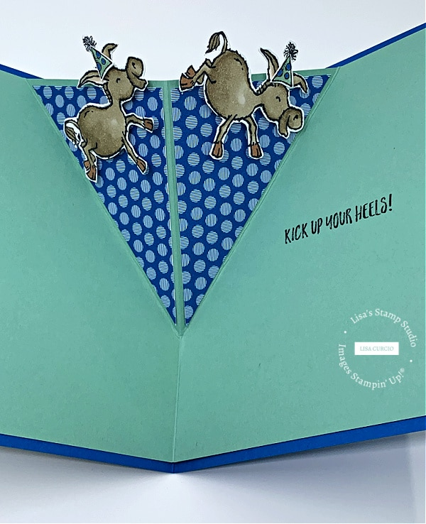 The star of the show in this Pop Up V-Fold Card are the Darling Donkeys
