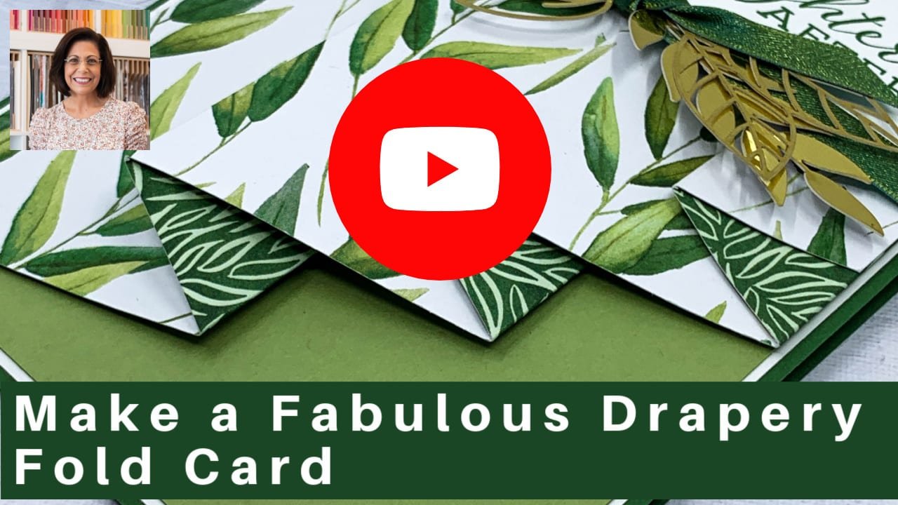 Click to watch the video tutorial on how to make a fabulous drapery fold card.