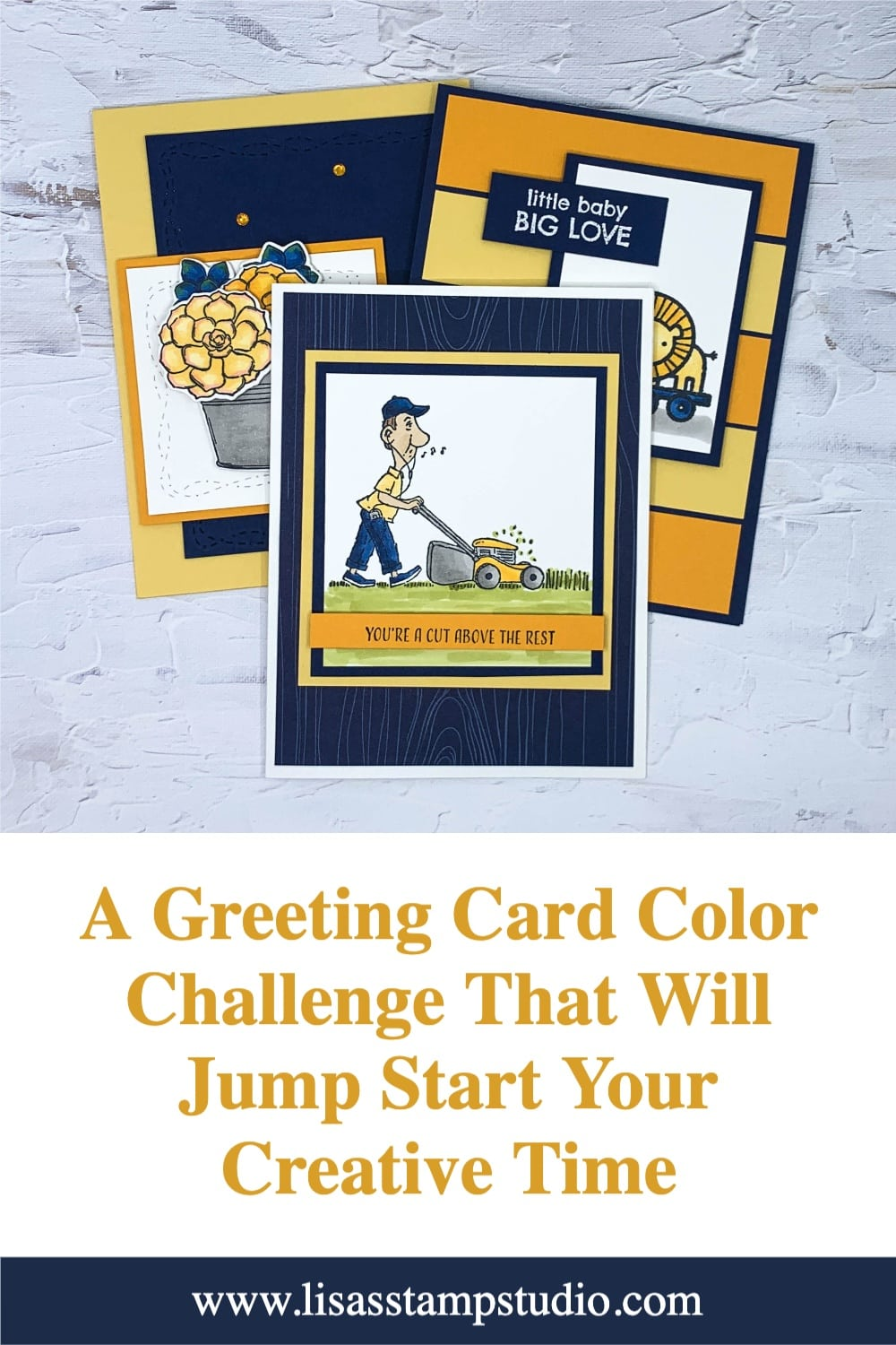 3 greeting cards made with this color challenge of navy, yellow, & mango