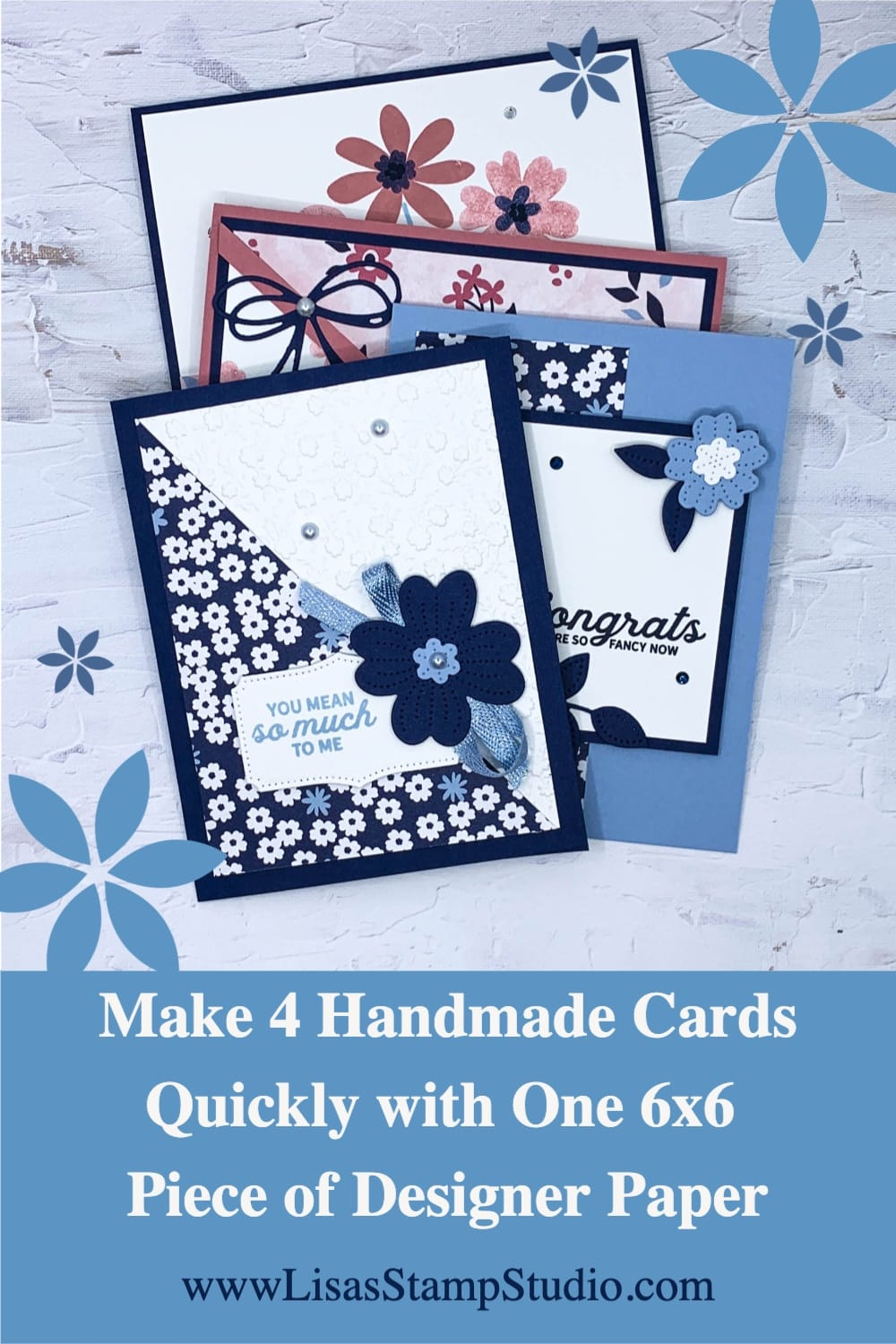 Make 4 handmade cards with one 6 by 6 piece of designer paper.