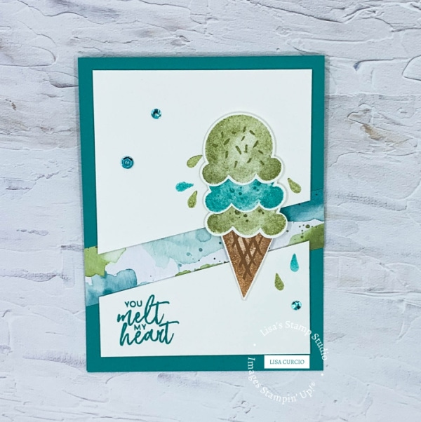 This greeting card layout will melt your heart with sweet ice cream cone in hues of blues and greens