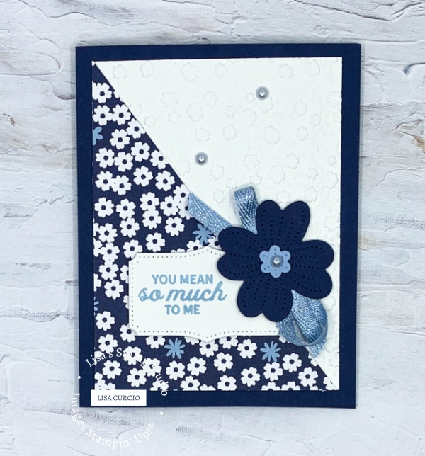 This is card 1 of the 4 with floral designer paper in navy and white