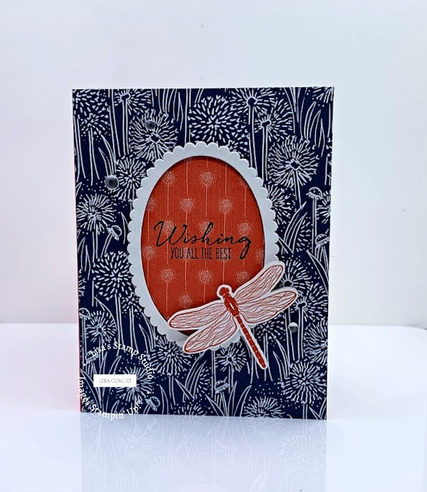 This pop up v-fold card is option 2 with the Dragonfly Garden stamp set