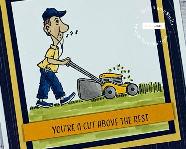 Stamped man mowing grass colored with Stampin' Blends.