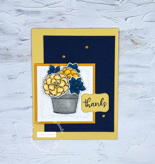 I made a thank you card with this greeting card color challenge of navy, yellow, and mango colors