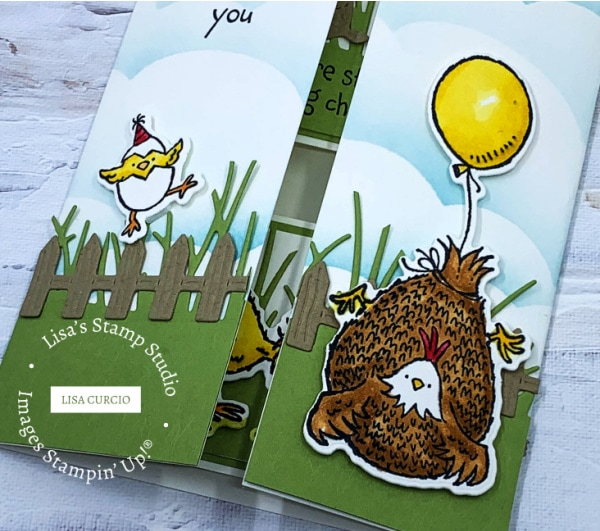 This floating gate fold card is complete with a cute fence, grass, and adorable baby chick