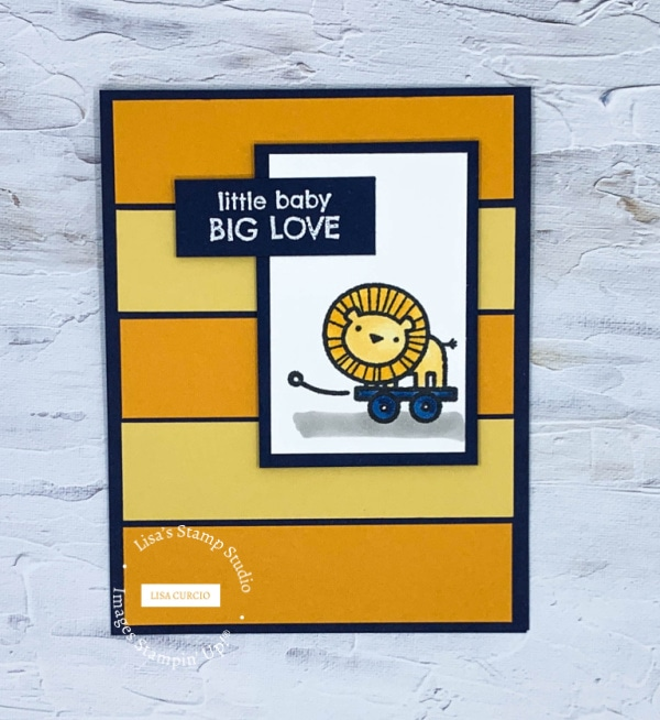 Take this greeting card color challenge and make a baby card with strips of yellow and mango card stock on navy background