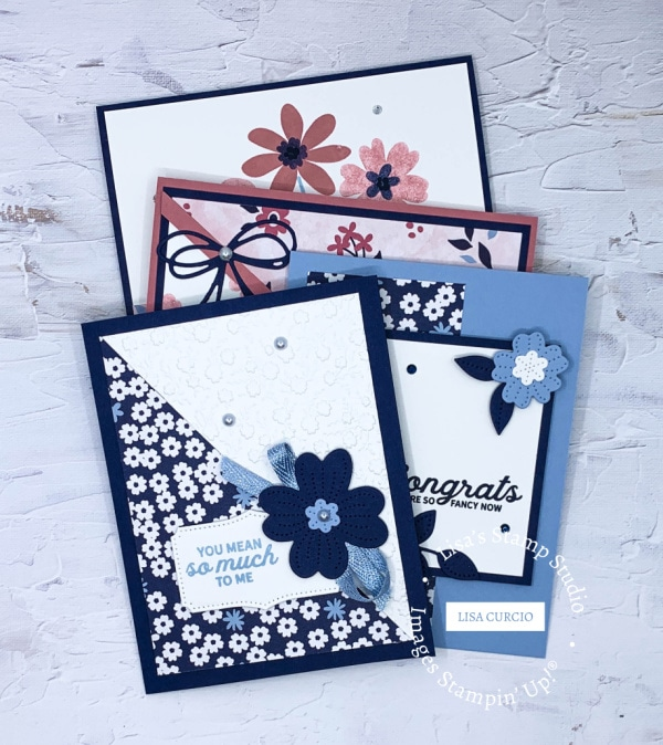 You can make these 4 handmade cards with a little designer paper and cardstock