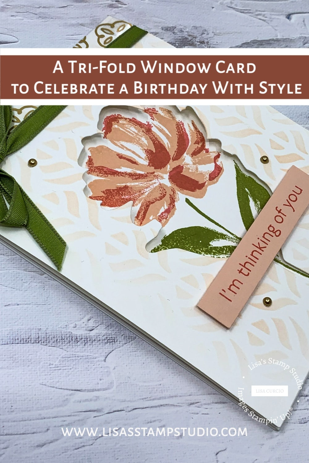 A tri-fold window card to save to your pinterest board