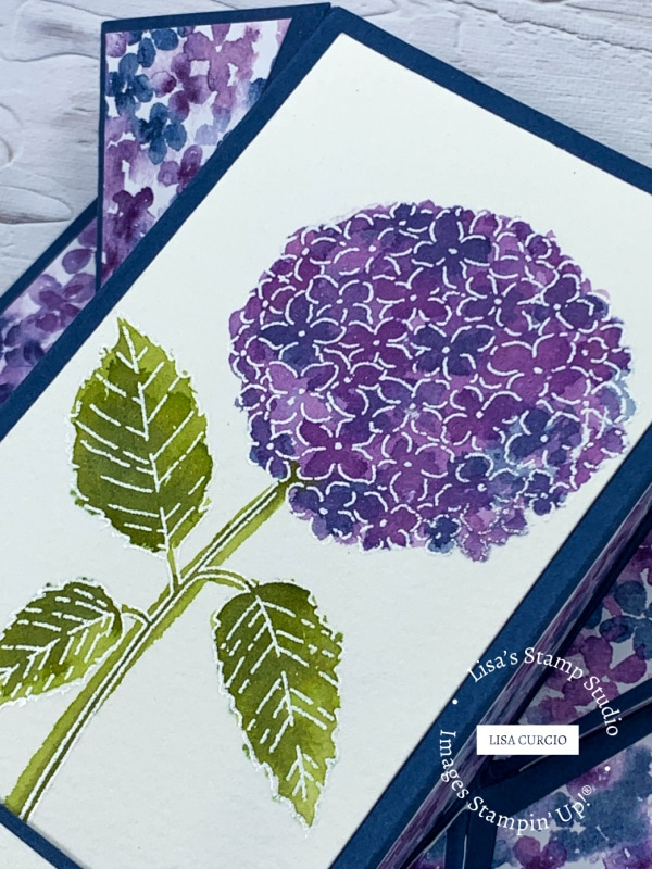 Close up of stamped hydrangea flower on this double fan fold card.