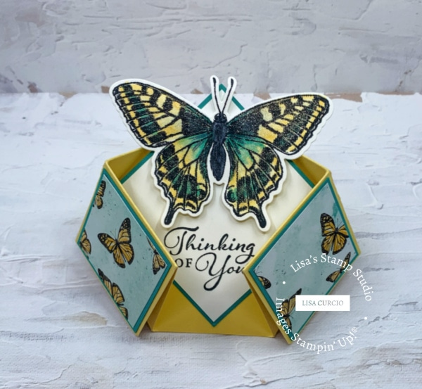 This double diamond fold card is easier to make than you might think and looks great with the Stampin' Up! Butterfly Brilliance