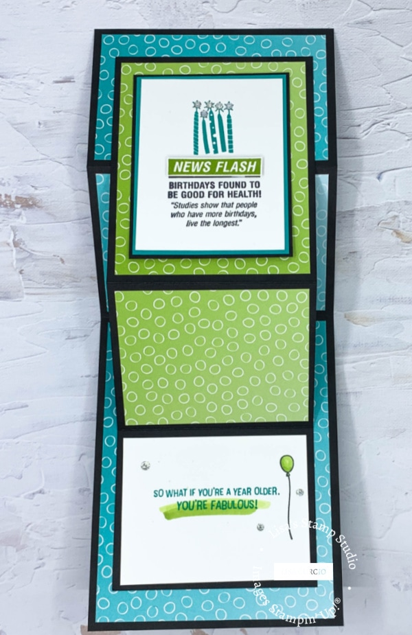 You'll have plenty of room to write your greeting and message in this amazing handmade birthday card.