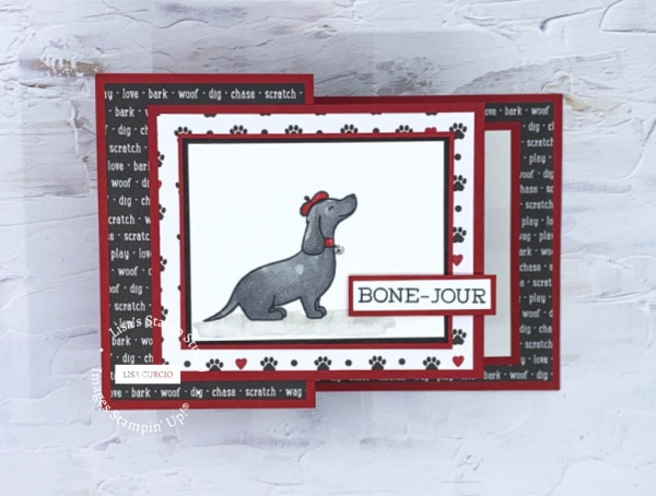 This amazing handmade card features a cute puppy Bone-Jour