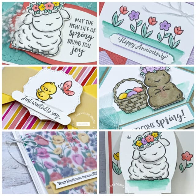 Lisa's stamp studio March 2021 card making class full of handmade spring cards.