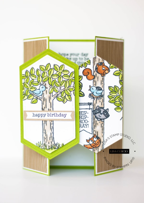 I used the Stampin' Up! Woodland Wonder to make this gate fold card.