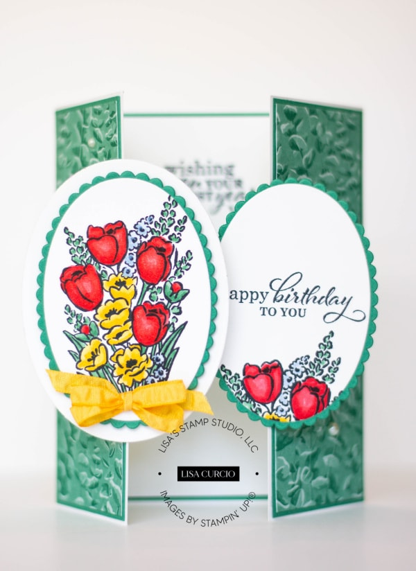 I love the colors on this birthday gate fold card.