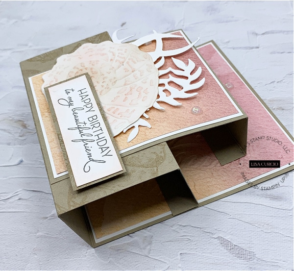 You can get creative with your step panel card and stamp the cardstock with subtle images.