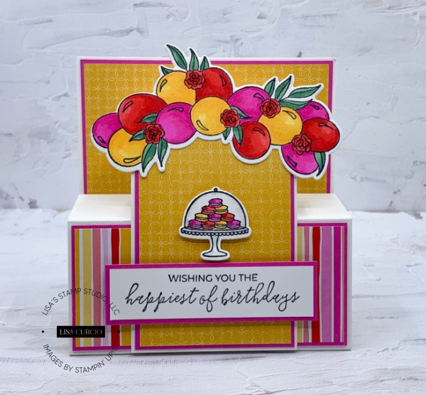 This step panel card features bold and bright colors; perfect as a handmade birthday card idea.