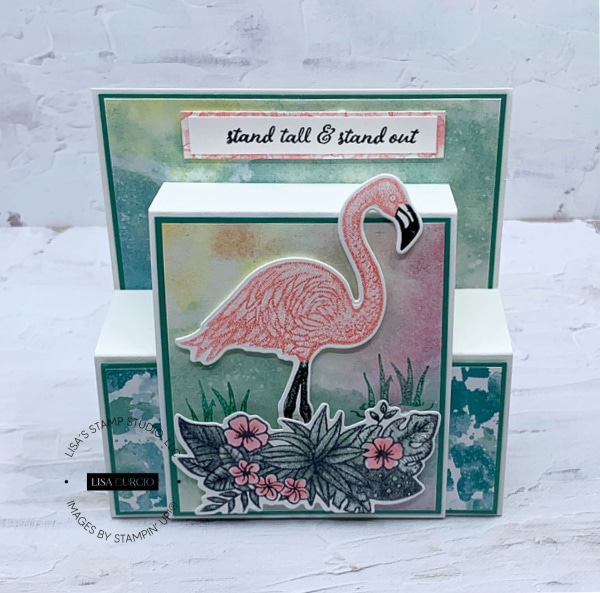 I love the pink flamingo on this fancy fold birthday card!