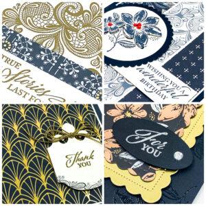Sneak peek of four cards using Elegantly Said stamp set